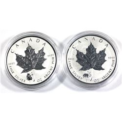 2016 & 2017 China panda Privy mark 1oz Silver maple leaf coins( Tax Exempt) 2pcs