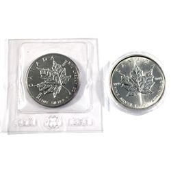 1989 & 1993 Canada 1oz $5 fine silver maple leaf ( Tax exempt) coins are toned. 2pcs