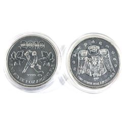 2009 Canada $5 Olympic Raven & 2010 $5 Hockey Olympic Commemorative 1oz Fine Silver Coins. 2pcs (TAX