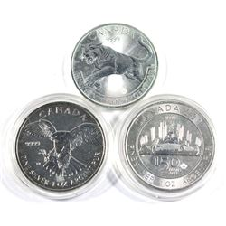 2014 Peregrine Falcon,2016 Cougar & 2017 Canada 150 1oz .9999 fine silver coins (Tax Exempt)-toned.