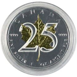 2013 Canada $5 25th Anniversary of the Silver Maple Leaf with Gold Plated maple leaf. Coin comes enc