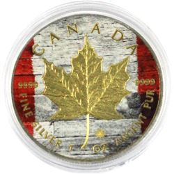 2014 Canada 1oz Coloured & Gold-plated Silver maple leaf- Canada Flag .9999 Fine Silver Coin (TAX Ex