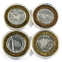 Lot of 4x Las Vegas .999 Fine Silver $10 Casino Tokens in Capsules. You receive the imperial palace,