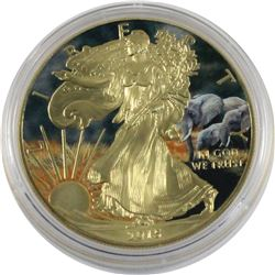 2015 USA 1oz African Plains Elephant Coloured & Gilded .999 Fine Silver Eagle in Capsule. (TAX Exemp