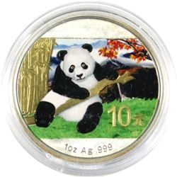 2014  China Panda 1oz .999 coloured & gold plated Silver coin ( Tax Exempt)