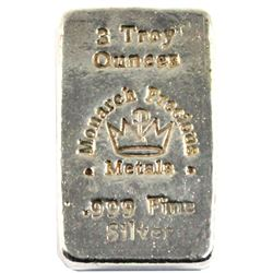 Hand Poured Monarch Precious Metals 3oz .999 Silver Bar (TAX Exempt)