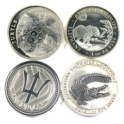 2014-2019  1oz .999 fine silver coins ( Tax Exempt): 2014 Australian saltwater crocodile, 2017 Barba