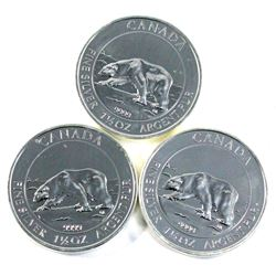 3x 2013 Canada $8 Polar Bear Proof 1.5oz Fine Silver (No Tax)-toned. 3pcs