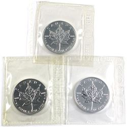 1994,1995 & 1996 Canada 1oz .999 fine silver Maple leaf coins ( Tax Exempt) 3pcs