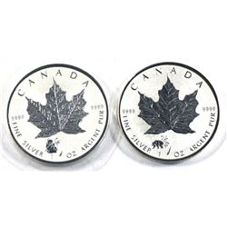 2016 & 2017 Canada Panda privy 1oz .9999 fine silver maple leaf ( Tax Exempt) 2pcs