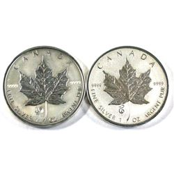 2005 Rooster & 2013 Year of the snake 1oz .9999 fine silver maple leaf ( Tax Exempt) 2pcs