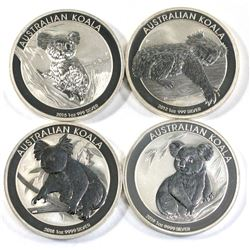 2012, 2015,2018 & 2019 Australian $1  1oz Koala .999 fine silver ( Tax Exempt) 4pcs