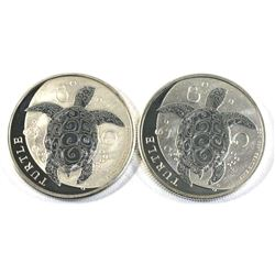 2018 & 2019 Fiji Turtle 1oz .999 Fine Silver Coins (Tax Exempt) - toned. 2pcs