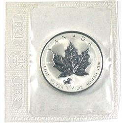 2002 Canada $5 year of the Horse Privy Mark Silver Maple Leaf with COA ( Tax Exempt)