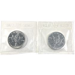 Sealed 1999 & 2001 Canada 1oz .9999 fine silver maple leaf ( Tax Exempt). 2pcs