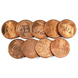 9x  Miscellaneous Pure Copper -  1oz. .999  Fine copper coin(TAX Exempt) 9pcs