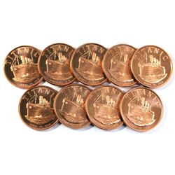 9x Pure Copper -  1oz. .999 - Titanic Fine copper coin(TAX Exempt) 9pcs