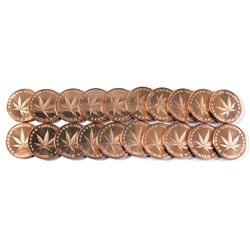"20x Pure Copper - 1oz .999  Cannabis ""Legalize it"" Fine Copper coin (Tax Exempt) 20pcs"