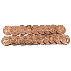 *19x 1oz .999 Fine Copper Rounds in Tube - 10x Fire Department & 9x Police. 19pcs (TAX Exempt)