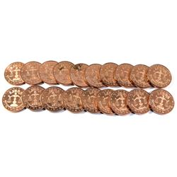 19x Pure Copper -  1oz .999 Libra Fine Copper coins (Tax Exempt) 19pcs