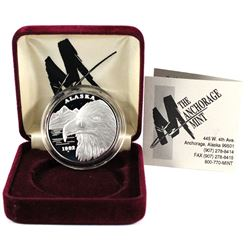 RARE! 1992-A Anchorage Mint Alaska State medallion 1oz .999 fine silver coin (Tax Exempt)-toned