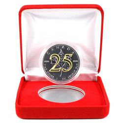 "2013 Canada $5 25th Anniversary of the Silver Maple Leaf with Gold Plated ""25th"". Coin comes encapsu"