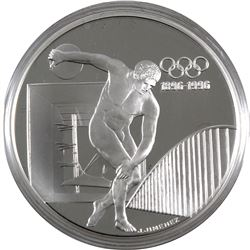 1896-1996 Olympic Centennial 1994 France 100 Francs Discus Sterling Silver Coin.