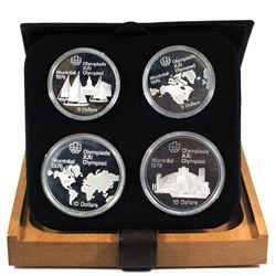 1976 Canada Montreal Olympics Series I $5 & $10 4-coin Sterling Silver proof Set in Original Packagi