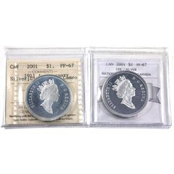 2001 National Ballet of Canada Proof Dollar & 2001-1911  anniversary Silver proof Dollar  Certified