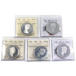 1981-1994 Canada Proof commemorative silver dollars Certified PF-67 Ultra Heavy Cameo. Dates include