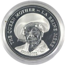 2002 Canada Queen Mother Proof Sterling Silver Dollar. Coin comes encapsulated.
