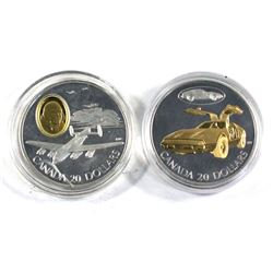 1990 Canada $20 The Avro Lancaster Bomber Sterling Silver coin &  2003 Canada $20 Transportation Car
