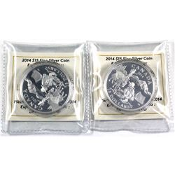 Pair of 2014 Exploring Canada series $15 Gold Rush fine silver coins (Tax Exempt) Coins come encapsu