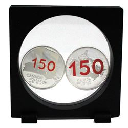 Pair of 2017  Canada 150 Proof Commemorative silver dollars in frame (Tax Exempt).  2pcs