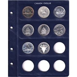 1972-2012 Canada commemorative silver dollars in lighthouse vista album. Dates include 1972,1973,197