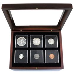 1956  Silver Proof-Like year set in mahogany finish display case.
