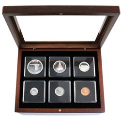 1967 Silver Proof-Like year set in mahogany finish display case.