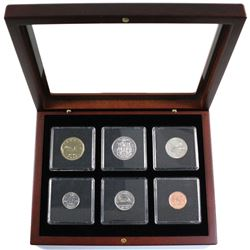 1992 Nickel Proof-Like year set in mahogany finish display case.