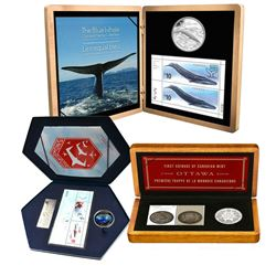 3x 2008-2010 Canada Coins and Stamp sets, Lot includes:  2008 Royal Canadian Mint 100th Anniversary