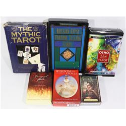 A LOT OF 7 VARIETY OF TAROT CARDS