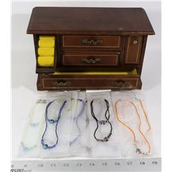 VINTAGE WOOD MUSICAL JEWELRY BOX SOLD WITH