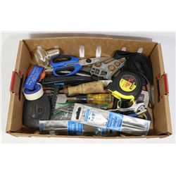 FLAT OF ASSORTED TOOLS INCLUDING TAPE MEASURE,