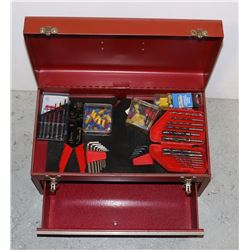 RED METAL TOOL BOX WITH CONTENTS INCLUDING