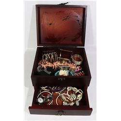 ROSEWOOD JEWELRY BOX FULL OF JEWELRY