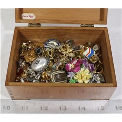 TRINKET BOX FULL OF ASSORTED PINS AND MORE