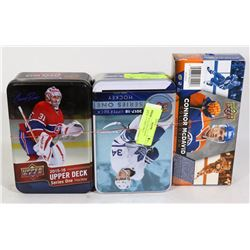 2 EMPTY UPPER DECK HOCKEY TINS WITH EMPTY CONNOR