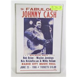 JOHNNY CASH CONCERT POSTER 1986 RADIO CITY