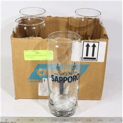 """SAPPORO BEER GLASSES- SET OF 4 - 7 1/4"""" TALL-"""