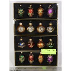 CHRISTMAS ORNAMENTS-GLASS DECORATIVE (SET OF 16)