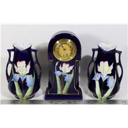 ANTIQUE CHINA FLORAL TABLE CLOCK AND 2 MATCHING